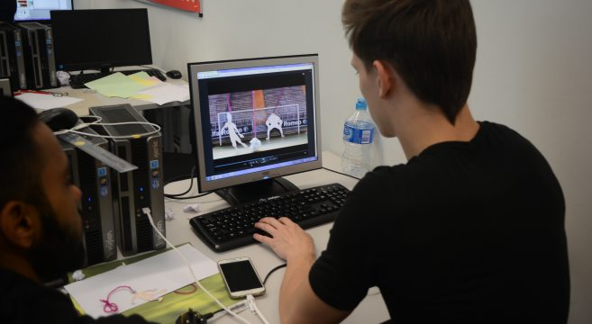 Student working on an animation project