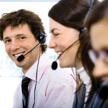 Customer service operators answering the phone