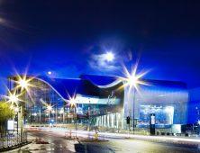 Sandwell College night exterior lights