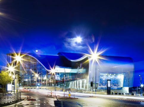 Sandwell College exterior by night