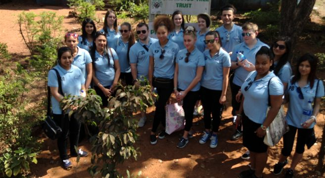 Group of Travel students outside Mango House in Goa
