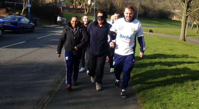 Foundation Learning staff and students on a blindfolded charity walk