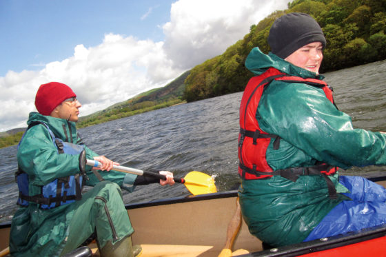 Two Foundation Learning students canoeing