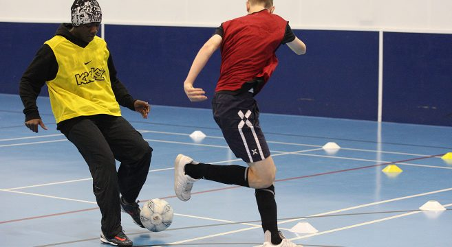 WBA indoor football coaching session for sport students
