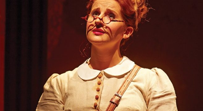 Former Performing Arts students Amy Booth Steele on stage at the National Theatre