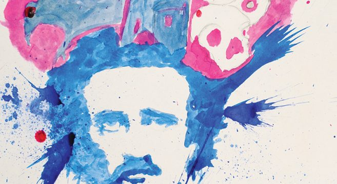 Artwork showing blue and pink portrait of a man