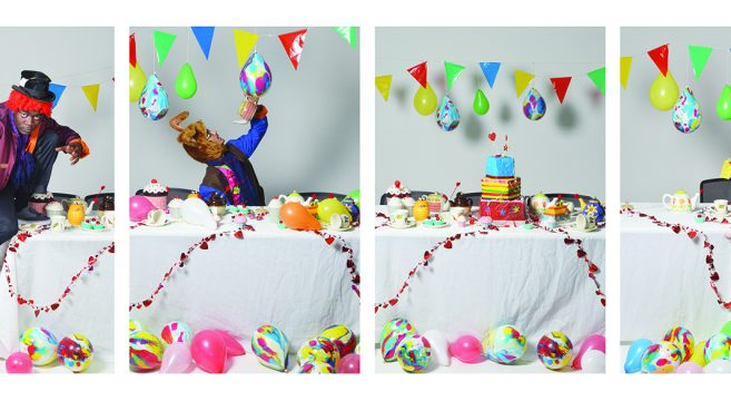 Four photographs of the Mad Hatter's Tea Party in sequence