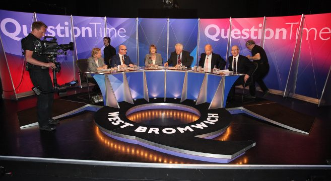 Question Time panel with film cameras