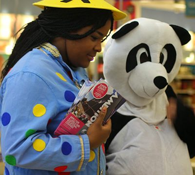 Performing Arts students dressed as Aladdin and panda