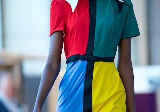 Fashion Show model in multi-coloured dress
