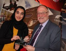 Central Sixth Student of the Year Nafisah Khalil presented with award by MP Adrian Bailey