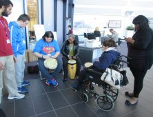 Foundation Learning students drumming
