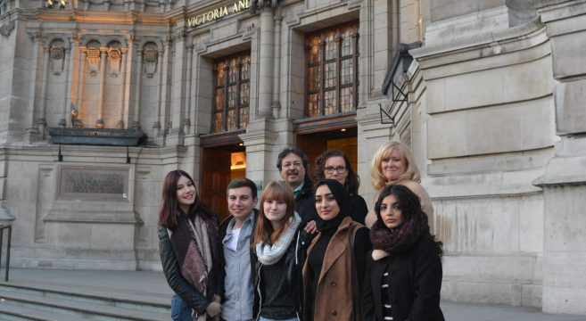 Photography group on steps of V&A museum