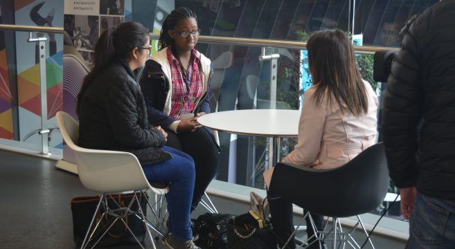 Students being interviewed by news presenter