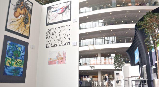 Art exhibition in atrium