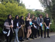 Group of students visiting university