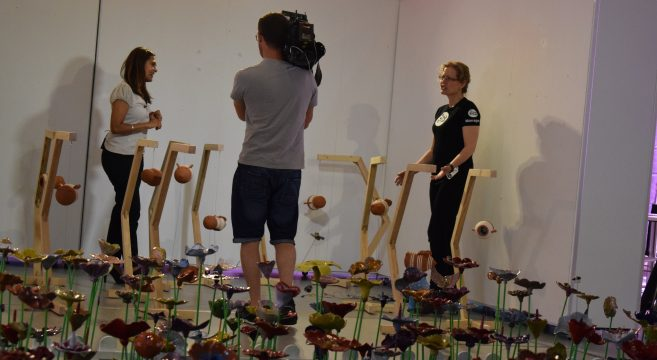 Filming ceramic garden with Midlands Today