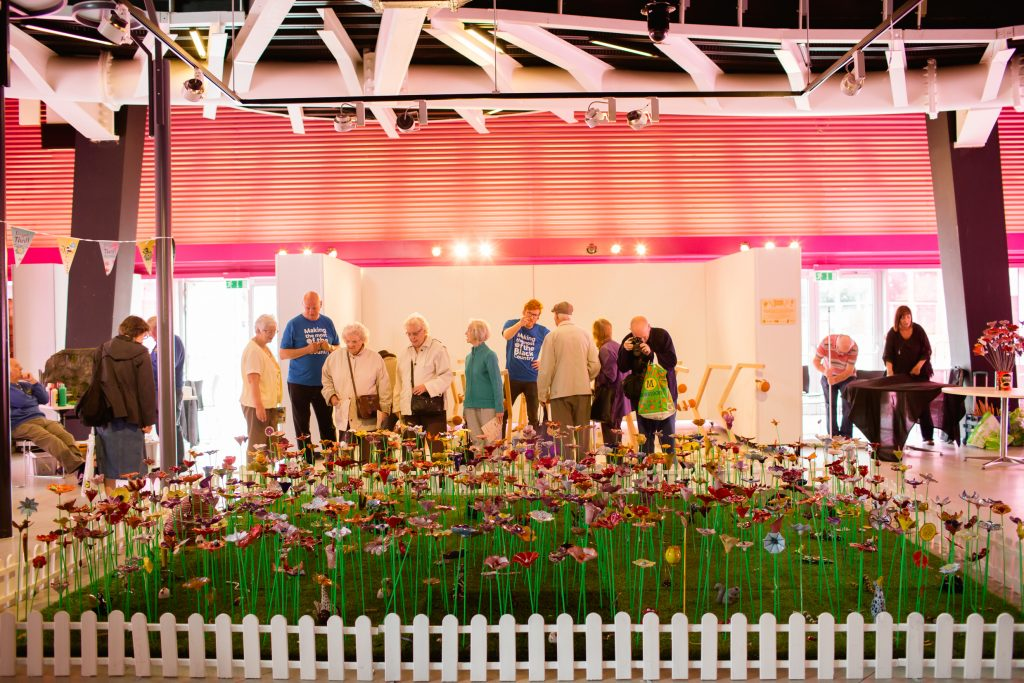 People visiting the ceramic garden