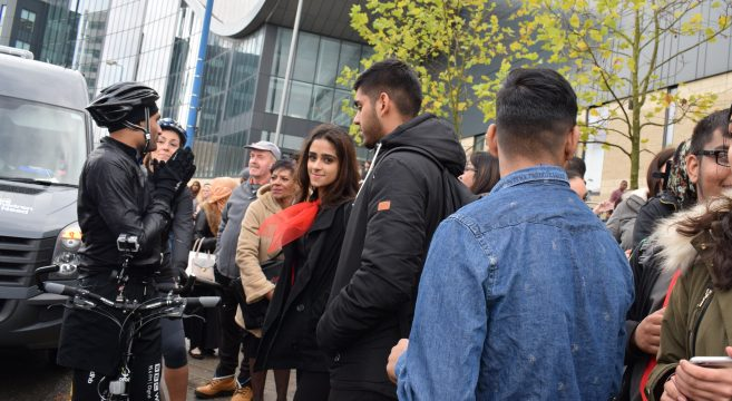 Group of students stood outside Sandwell College campus meeting members of the Children in Need team
