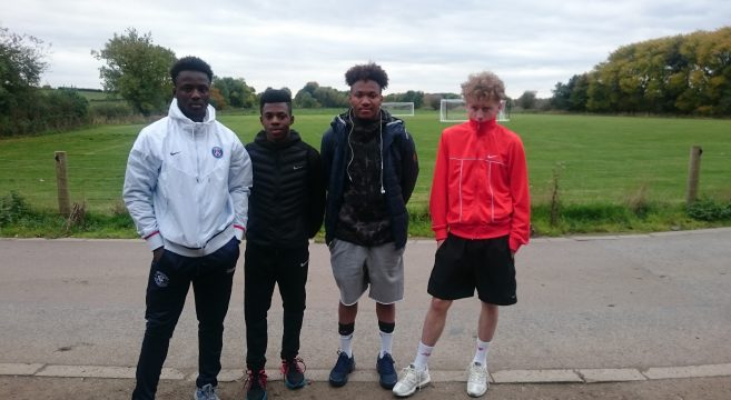 Group of male sports students pictured before attending a football trial