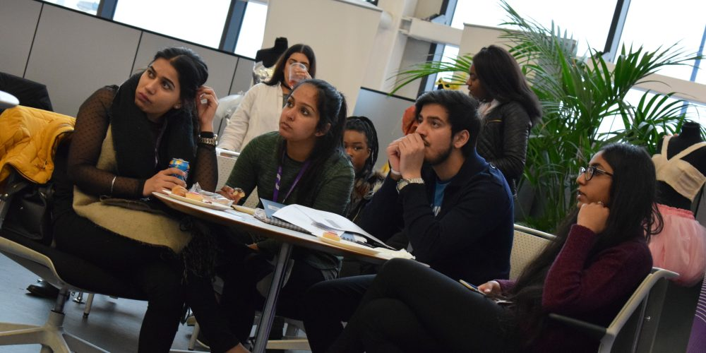 Students attending the Business Brunch in the Pod area at Sandwell College campus