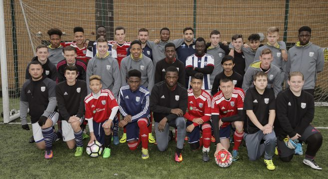 West Bromwich Albion players Robson-Kanu and Morrison with WBA Foundation Academy players