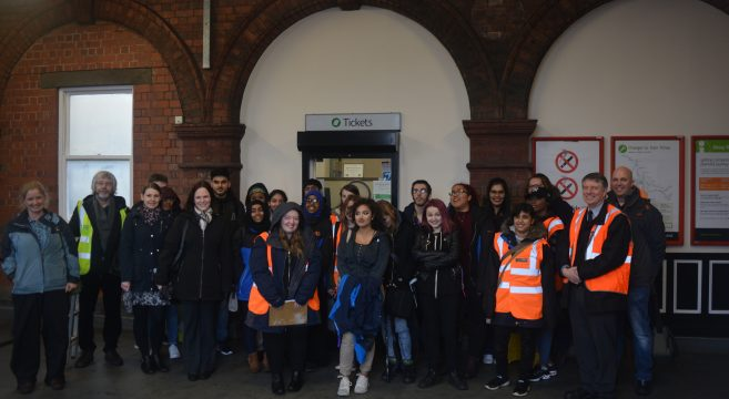 Group photo of Sandwell College students and staff at Rolfe Street Station