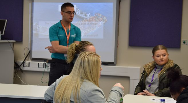 Coventry University Disaster Management lecturer delivering presentation to Sandwell College Healthcare students