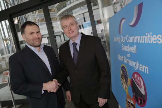 Sion Simon pictured with Principal Graham Pennington at the Sandwell College entrance