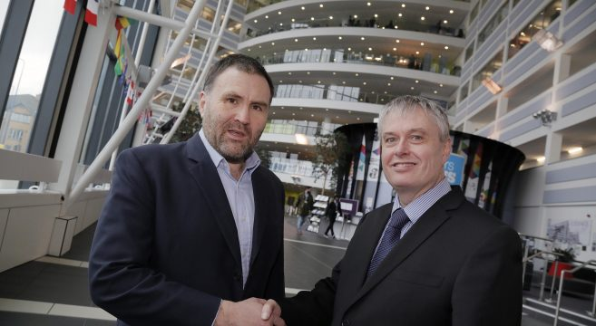 Sion Simon pictured with Principal Graham Pennington inside the Sandwell College campus