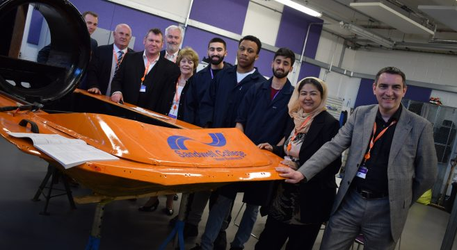 Hovercraft with Sandwell Council cabinet and students
