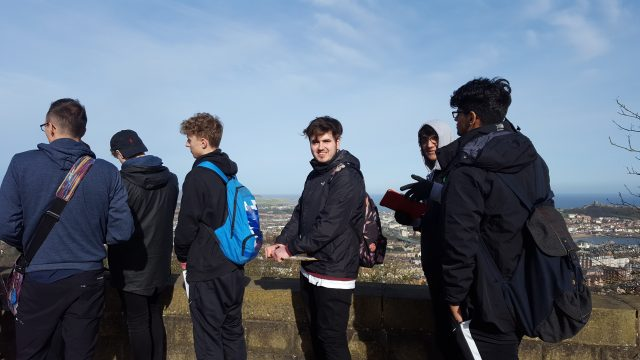 Students looking at Scarborough from a high view point
