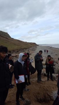 Students studying a coastline