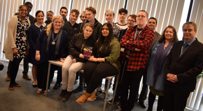 Theatre in Education group pictured with Sandwell College staff members