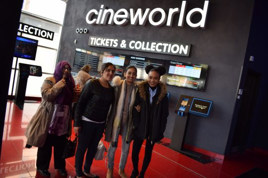 Business students at Cineworld