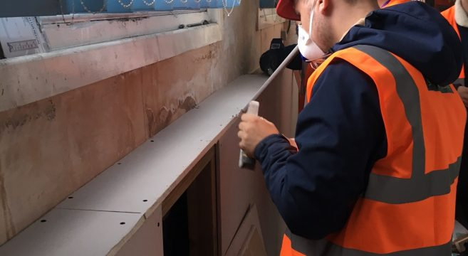 Construction student at Rolfe St Station