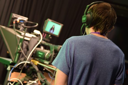 Students using TV equipment at the University of Worcester