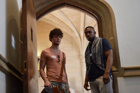 Two male students pictured inside Oxford University
