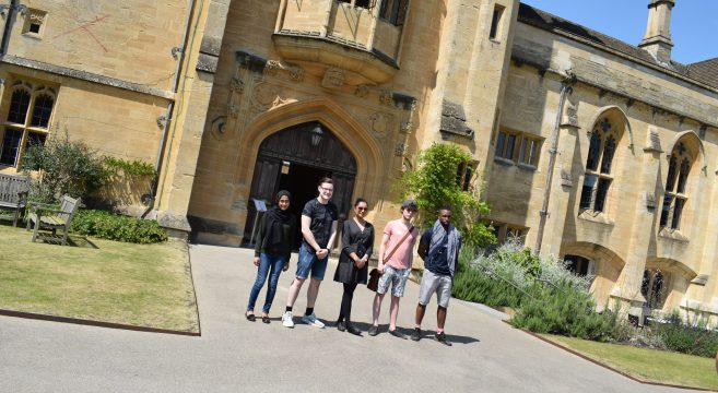 Group of students outside Oxford University