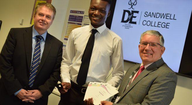 Eldair with Principal Graham Pennington and David Hughes