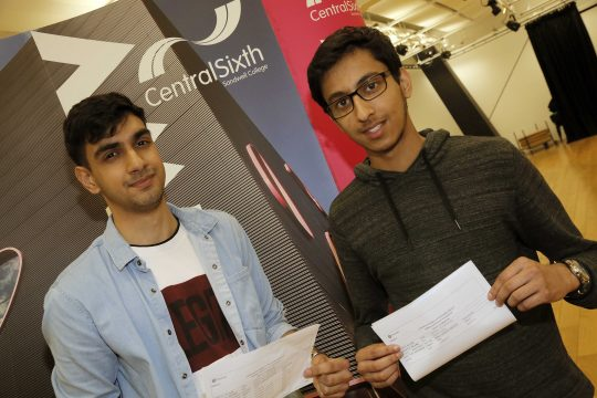 Mohammed & Zac pictured with their A Level results