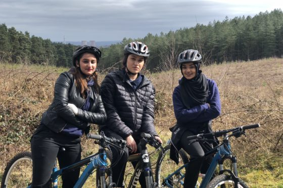 Group of Public Services students mountainbiking