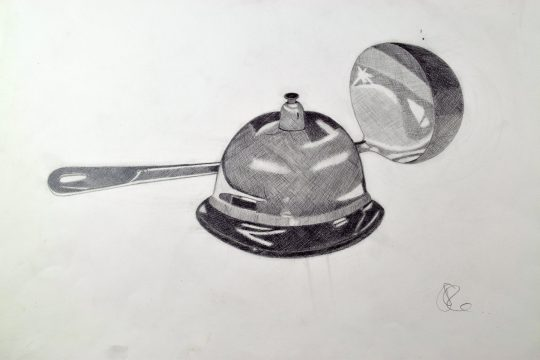 Drawing sketch of bell and serving spoon