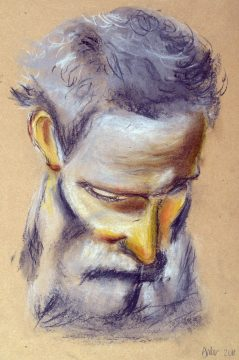 Sketch drawing of bearded male