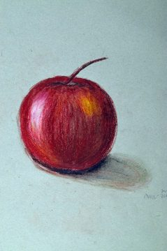 Painting of red apple