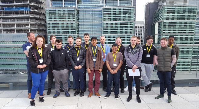 Construction students and staff members pictured on the rooftop of Birmingham Snow Hill station