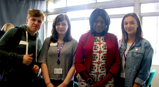Media students pictured with Eleanor Smith MP