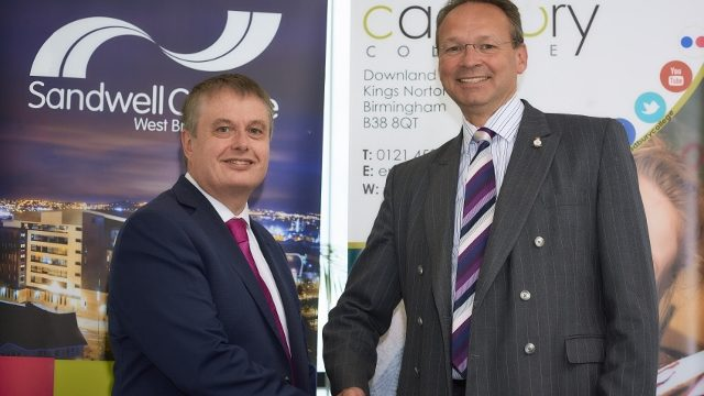Principals of Sandwell and Cadbury Colleges shaking hands