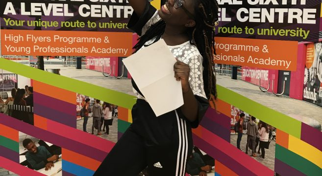 Christina Antwi with her results