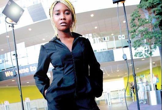 Female student on model runway
